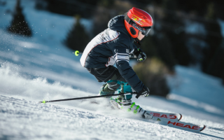 a person skiing with complete gears